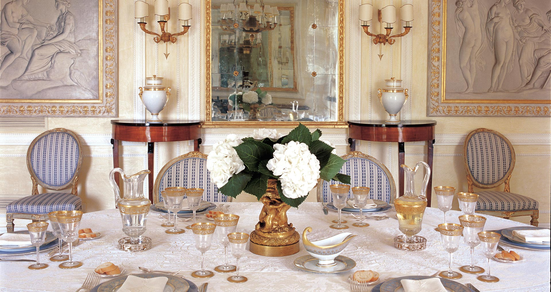 - Cap Ferrat, France  -  Country House  -  Soft tones within the neoclassical styled dining room