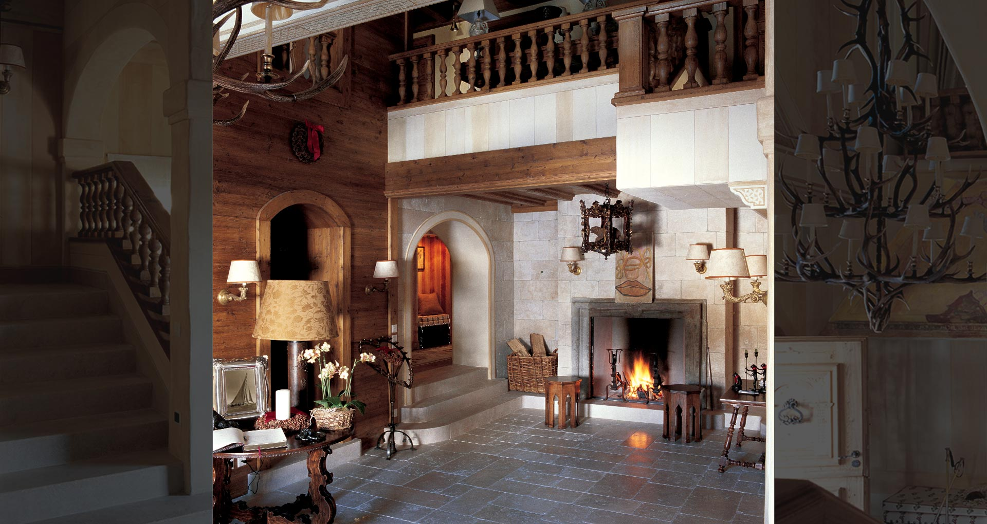 - St Moritz, Switzerland  -  Mountain House  -  The warm and inviting entrance hall